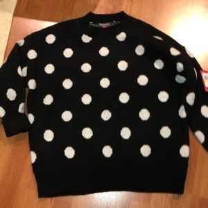 Vince Camuto Black w/White Polka Dot Crew Sweater